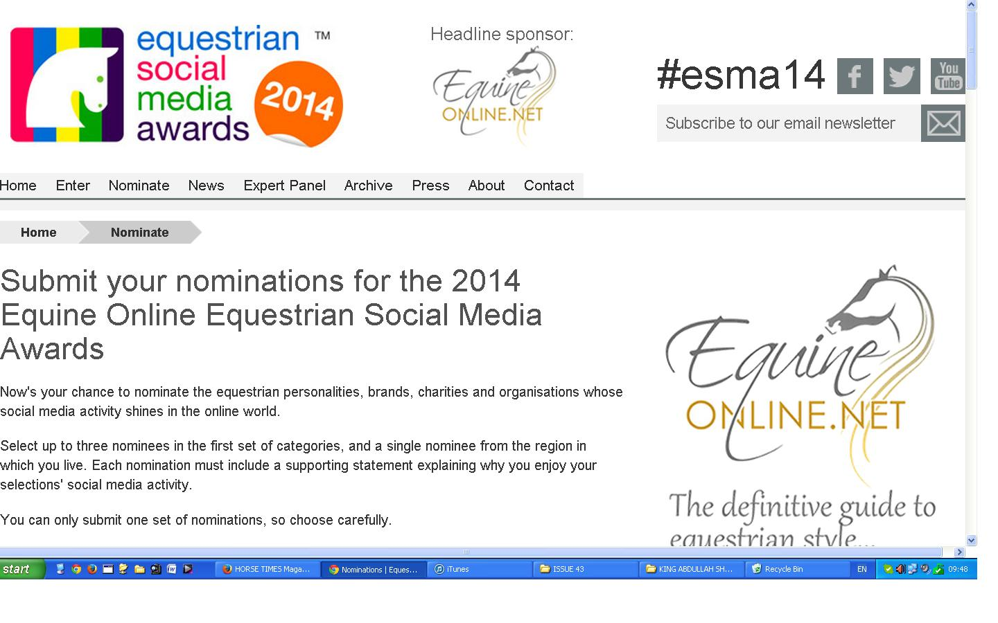 Horse Times Egypt: Equestrian Magazine :News :PUBLIC NOMINATIONS ARE NOW OPEN FOR THE 2014 EQUINE ONLINE EQUESTRIAN SOCIAL MEDIA AWARDS