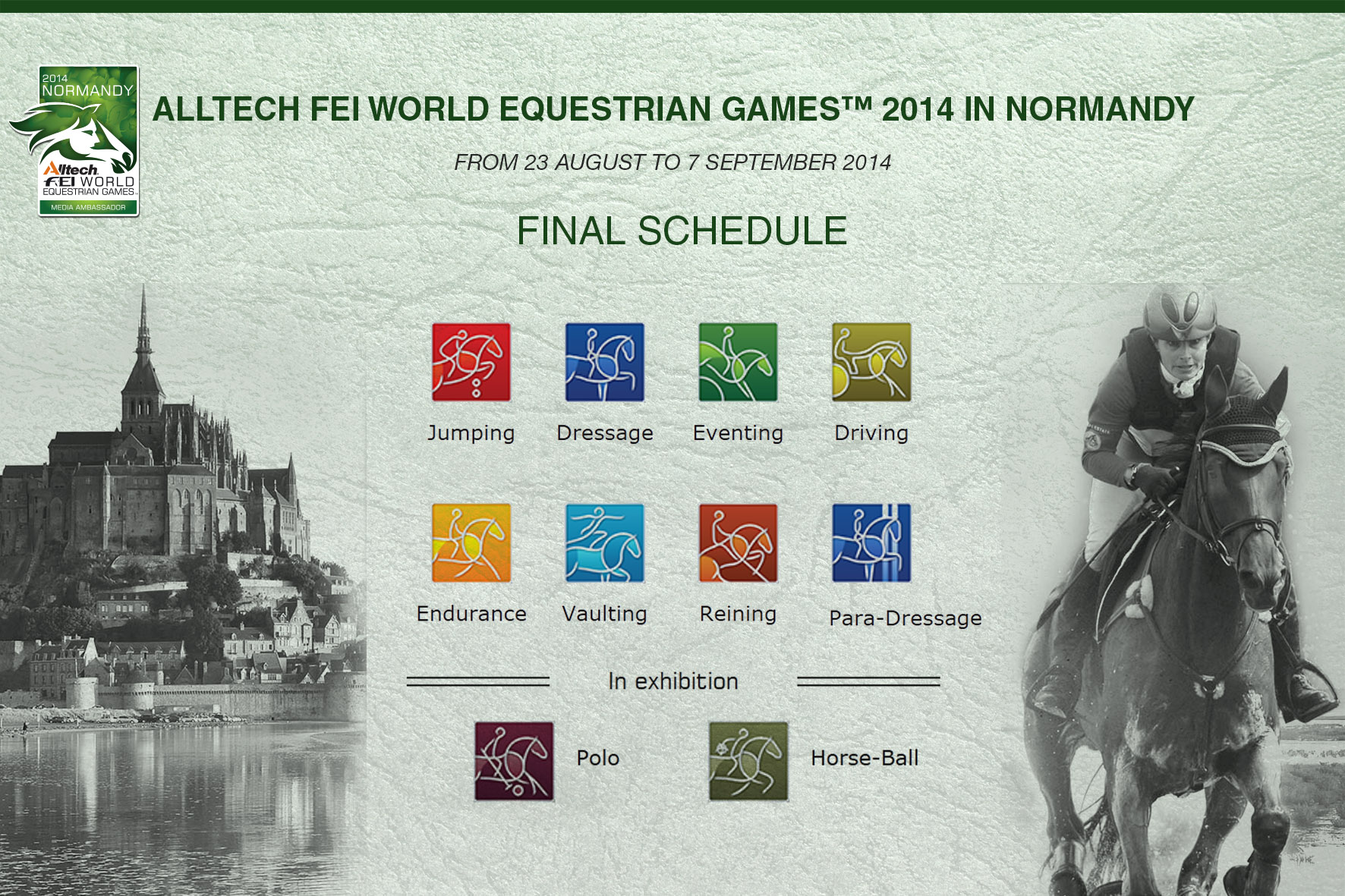 Horse Times Egypt: Equestrian Magazine :News :ALLTECH FEI WORLD EQUESTRIAN GAMES 2014 IN NORMANDY FINAL SCHEDULE