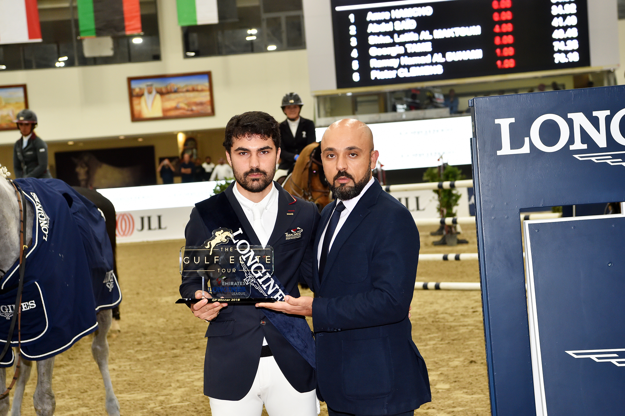 Horse Times Egypt: Equestrian Magazine :News :Syrian Omar Hamsho on horse Lordano claims the Longines Grand Prix at the 2018 Gulf Elite Tour CSI2*